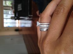 engagement ring, wedding band, & a band for each child. Love the idea! #APBling : Aisle Perfect!