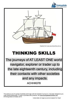 Free Teacher Resource - 35 pages of activities and guidance notes exploring the journeys of explorers. (Australian Curriculum No ACHHK078)