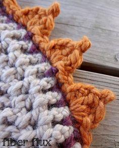 Pumpkin Patch Edging, free crochet pattern   video on Fiber Flux