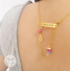 COLLAR PARA ESPALDA CON CUARZO ROSADO Gold Necklace, Jewelry, Fashion, Pink Quartz, Chains, Steel, Colombia, Necklaces, Moda