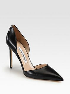 this is the most gorgeous design in a simple black pump (and yes, i am willing to look for a less expensive version) Manolo Blahnik - Tayler Leather Pumps - Saks.com $695.00