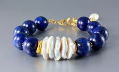 """Midnight Moon"" - Lapis Lazuli and Pearl Gold Bracelet (#1), $82.99 