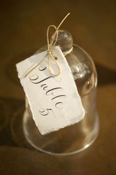 Glass bell table number
