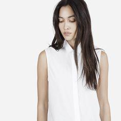 A classic sleeveless button-down in lightweight poplin or smooth light denim…