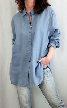 426572214 J Jill 100% Linen L Sleeve Button Down Oversize Style Shirt Blue Sz XL # JJill #ButtonDownShirt