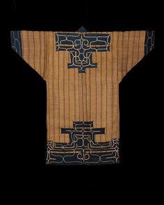 Attush robe. Ainu, Hokkaido. Late 19th century.   Elm bark fiber, cotton applique and embroidery.
