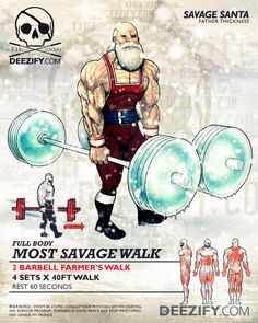 leg exercise: farmers walk santa Leg exercises to get you strapped Personal Fitness, Physical Fitness, Fit Board Workouts, Gym Workouts, Hero Workouts, Superhero Workout, Farmers Walk, Workout Posters, Bodybuilding Workouts