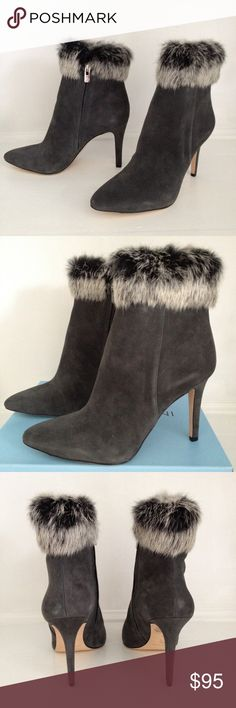 "Antonio Melani Kylan Rabbit Fur Dress Booties Kidsuede leather upper with rabbit fur trim along the top, inside zip. 3.7"" stacked stiletto heel featured in Stonehenge Grey by Antonio Melani.  Brand New!🎀 ANTONIO MELANI Shoes Ankle Boots & Booties"