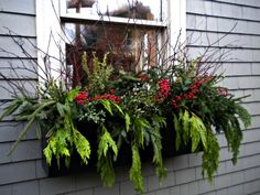 One of my favorite things to do! Using greenery, branches, and dried florals, to dress up window boxes and container gardens at Christmas. Here: design by Sappho.