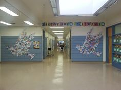 Welcome to our peaceful school.  Everyone in our school created a dove with a message of peace on it.