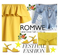 """""""Romwe Ripped Frayed Hem Denim Shorts"""" by dzenanlevic99 ❤ liked on Polyvore featuring Chicwish and Neiman Marcus"""
