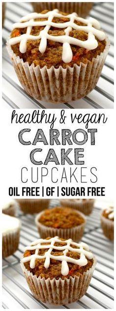 Healthy Carrot Cake Cupcakes (Vegan, Oil-Free, Sugar-Free, Gluten-Free Optional)