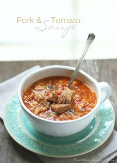 Pork & Tomato Rice Soup a delicious and comforting low carb gluten free dairy free nut free keto lchf and Atkins diet friendly soup recipe that won't break the bank! Low Carb Soup Recipes, Ketogenic Recipes, Dairy Free Recipes, Pork Recipes, Gluten Free Recipes, Diet Recipes, Cooking Recipes, Healthy Recipes, Chilli Recipes