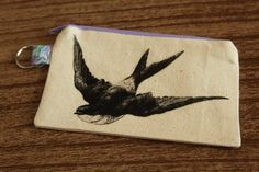 Sparrow Coin Purse  Small Flat Zippered by AmandaJeanCreations, $8.00