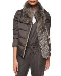 B30TX Brunello Cucinelli Long-Sleeve Puffer Jacket w/Fur Trim, Graphite