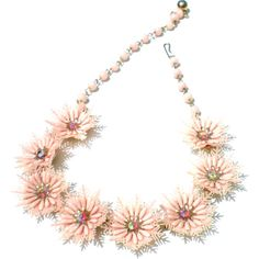 Pink Lucite Flower Rhinestone Necklace, Aurora Borealis Glass, Bib,... ($18) ❤ liked on Polyvore featuring jewelry, necklaces, pink bib necklace, pink necklace, rhinestone necklace, vintage glass necklace and vintage necklaces
