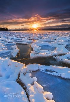 Fissures by Kurt Budliger, Lake Champlain, Vermont  Found on 500px.com  Winter is starting to finally loosen it's icy grasp here in the north country.  I love this time of year when the days are starting to get longer, the sun feels a bit warm yet there is still a month of winter left.  Best of all, it's not a suffer fest every time you head out to shoot.  This is from the other night along the shores of Lake Champlain in Vermont as the sun set over the southern Adirondacks...