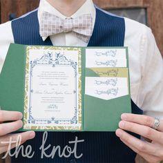 Real Weddings - A Vintage Rustic Wedding in Dayton, OH - Green Pocket Invitations Pocketfold Invitations, Green Wedding Invitations, Wedding Stationary, Wedding Planner, Invites, Pocket Invitation, Invitation Set, Wedding Inspiration, Wedding Ideas