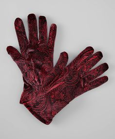 Black & Red Paisley Velvet Gloves