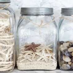 sand and beach souveniers in canning jars