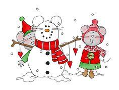 Mousey Snowman color | Dearie Dolls Digi Stamps