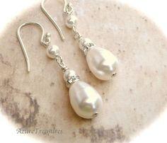 Pearl Drops Earrings Dangle AzureTreasures $26.00