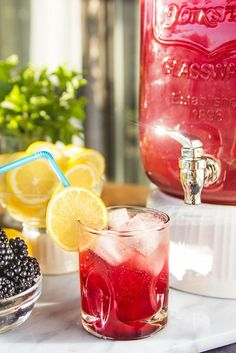 Party Drink Ideas: Sparkling Pomegranate Lemonade Recipe from Nordstrom with Blackberry Syrup. Photo by Jeff Powell.