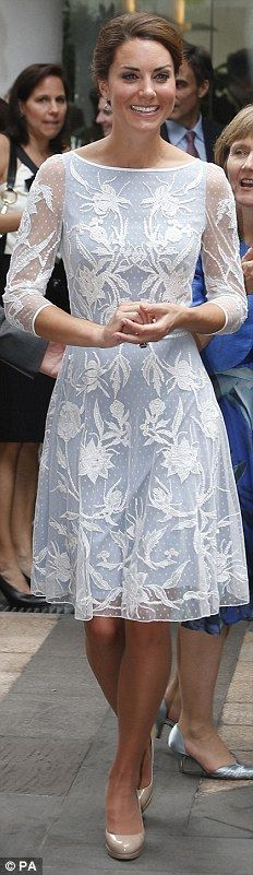 ALICE TEMPERLEY, £1,550: Still in Kuala Lumpur and still in her nude heels, Kate wears this blue ad white dress by one of her favourite designers
