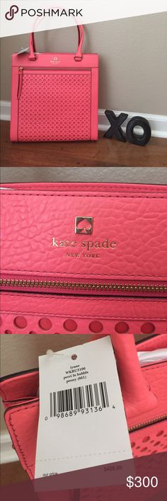 NWT Kate Spade Perry Lane Bubbles Lynne Tote Purse Pink/Coral. . 13.5 x 13 x 3 9 inch handle drop kate spade Bags