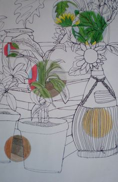 Cool idea to do with a still life and watercolor pencils with circle templates