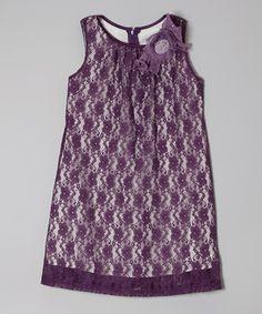 Plum Floral Lace A-Line Dress