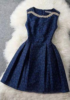 Blue Floral Pleated Rhinestone Sleeveless Knee Length Midi Dress - Midi Dresses - Dresses