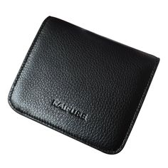 "Women Leather Short Wallet Multi Credit Card Holder Black Kaifure. Size Info:L4.33""*W3.937""*H0.3037"". Material: It is made of grade leather in and outside. It touches soft. Structure: It is a buckle closure short wallet. There are 6 card slots, 1 receipt hold, and 1 clear photo view. A small zippered pocket outside, you can fit something like coins and pin money. This beautiful and unique wallet will keep you looking good and your money secure. It is fine workmanship, Durable and practical."