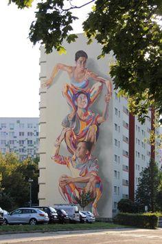 The JBAK Totem Mural on the side of the HOWOGE building at Landsberger Allee 228B in Lichtenberg in Berlin #streetart