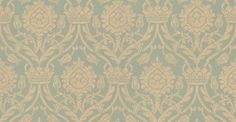 Bohemian Damask (W621-08) - Sheila Coombes Wallpapers - A traditional crown and tulip style all over damask with a hand painted effect. Shown in the beige on mid green colourway. Please request sample for true colour match.