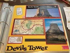 Devils Tower. Way to incorporate memorabilia gathered at the spot. Also included copy of National Park Passport cancellation.