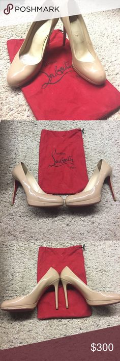 Nude platforms Well loved, authentic beauties😍! Purchased from Saks, have a few blemishes but still absolutely gorgeous! Dust bag included but no box, (the box got damaged in transit beyond saving 😔) size 41 know your CL size! Christian Louboutin Shoes Heels
