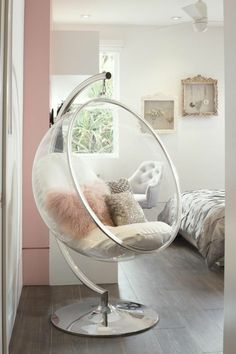 Room Decor - After Saarinen created the bubble chair he wanted to have light inside it and so. Cute Bedroom Ideas, Cute Room Decor, Girl Bedroom Designs, Room Ideas Bedroom, Home Decor Bedroom, Kids Bedroom, Bedroom Sets, Trendy Bedroom, Classy Teen Bedroom