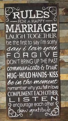 """RULES FOR A HAPPY MARRIAGE/WEDDING GIFT/BRIDAL SHOWER GIFT/JACK AND JILL GIFT/COUPLES GIFT MEASUREMENTS: 12"""" X 24"""" THIS IS A WOOD SIGN. IT HAS BEEN STAINED, PAINTED AND SLIGHTLY DISTRESSED. A CLAW TOOTH HANGER IS INSTALLED. COLOR OPTIONS ARE AVAILABLE. ALSO YOU WILL FIND IN THIS SHOP A PERSONALIZED MARRIAGE RULES SIGN. PLEASE MAKE SELECTIONS IN THE DROP DOWN BOXES WHEN ORDERING. contact: kimbercreations@outlook.com"""