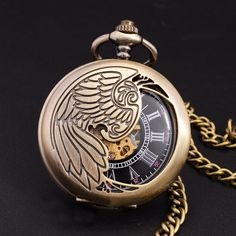 2017フェニックス翼彫刻スケルトン機械式懐中時計男性アンティークエレガント男性腕時計レトロブロンズポケット&フォブ時計