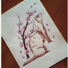 Disponible ; 20 €  #draw #drawing #sketching #tattoosketch #tattoodesign #tattooflash #tattoodraw #ferret #ferretgram #furet #cherryblossom #sakura #newschooltattoo