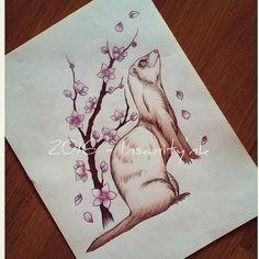 Disponible ; 20 €  #draw #drawing #sketching #tattoosketch #tattoodesign #tattooflash #tattoodraw #ferret #ferretgram #furet #cherryblossom #sakura #newschooltattoo