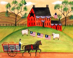 free images for primitive painting | PRIMITIVE AMERICANA SHEEP HORSE WAGON FOLK ART PRINT