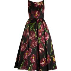 Dolce & Gabbana Tulip-print sleeveless duchess silk-satin gown ($2,548) ❤ liked on Polyvore featuring dresses, gowns, black print, dolce gabbana dress, pattern dress, print dress, tulip dress and embelished dress