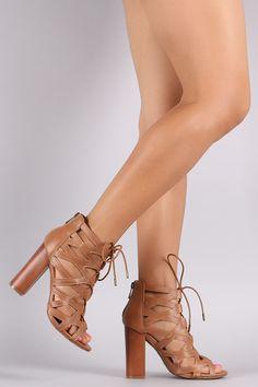 Bamboo Open Toe Cutout Lace-Up Chunky Heel