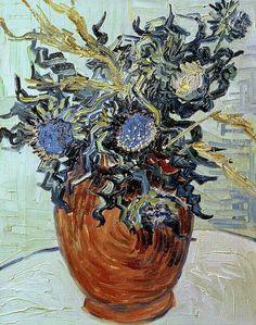 Still Life with Thistles - Vincent van Gogh 1890 Post-impressionism Vincent Van Gogh, Artist Van Gogh, Van Gogh Art, Art Van, Paul Gauguin, Flores Van Gogh, Desenhos Van Gogh, Van Gogh Flowers, Van Gogh Still Life