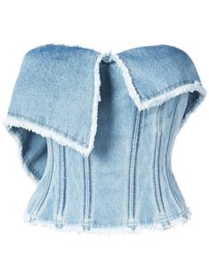 Add a cool-girl edge to your wardrobe with this light blue denim bustier top featuring unfinished edges, interior boning, and a fitted silhouette. Kpop Fashion Outfits, Stage Outfits, Denim Fashion, Women's Fashion, Bustier Top, Crop Top Outfits, Cute Casual Outfits, Denim Top, Blue Denim