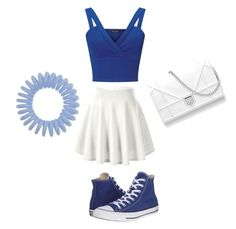"""""""#blueandwhite"""" by ellen7ellen ❤ liked on Polyvore featuring Miss Selfridge and Converse"""