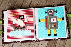 Pirate ship quiet book page and Robot quiet book page
