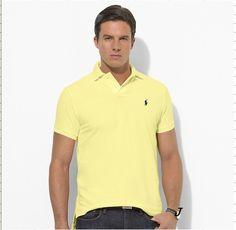 Ralph Lauren Men\u0026#39;s Custom-Fit Mesh Short Sleeve Polo Shirt Wicket Yellow http:/